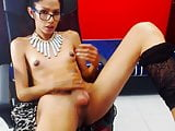Hot webcam tranny does self facial - powerful cumshot.