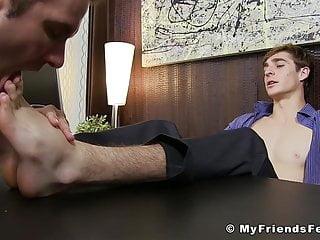 Pervert employee worships boss feet after work in...