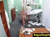 Blonde patient wanking her doctors cock