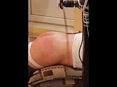 Homemade spanking machine for her buttocks