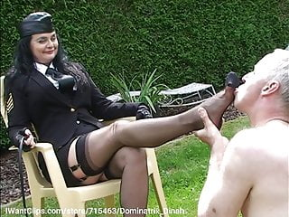 Dominatrix Dinah with a slave - shoes, feet & nylons worship