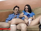 Tiny asian teen tight pussy gets broken by dirty old man and