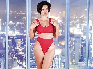 gorgeous woman two piece red swimsuit bikini