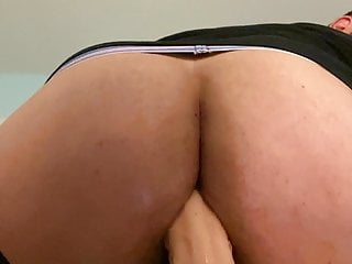 Chubby gay takes huge dildo...
