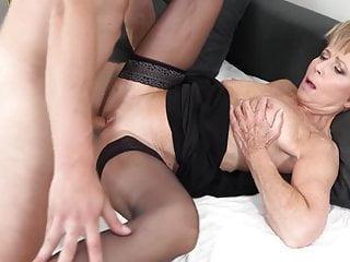 Sexy granny aka GILF takes boy's young cock