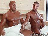 Kinky ebony studs have steamy wild sex in the bath house