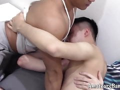 Gorgeous young Asian gay chain banged handsome amateurs