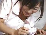 CENSORED Japanese nurse gives satin panty handjob