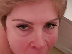 German milf sucks dick and eats cum, blowjob with cum in mouth