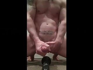 Hot muscular stud fucks big black dildo