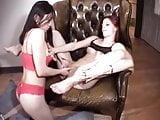 Hot lesbians -muff diving on a chair