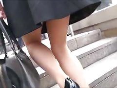 upskirt in the stairs