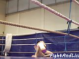 Lez babes wrestling on the floor