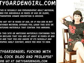 Dirtygardengirl fucking with animal cock dildo and prolapse...