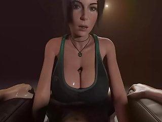 Lara croft titjob and blowjob...
