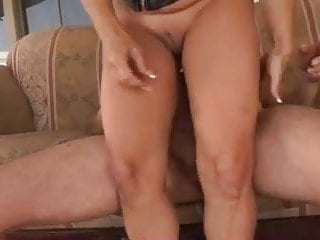 Blonde cougar couch fuck...