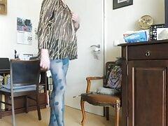 Spanking in Green Pantyhose