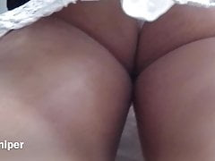 Upskirt - Sexy white panty with busty ass