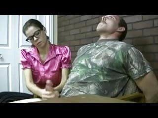 Nerdy girl handjob...