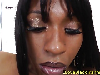 Black trans smoker wanks her solo...