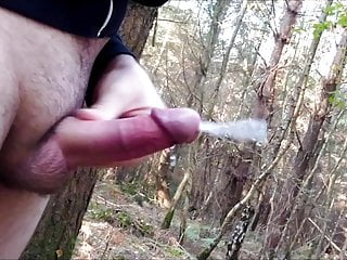 wanking and cumshot in forest
