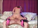 Brunette in pink boots banged hard