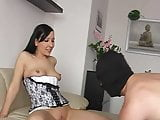 Mistress with slave at home