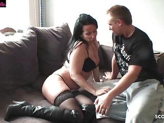German mom seduce shy neigbour boy when husband...