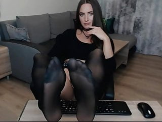 Stockings Brunette Webcam video: Sexy Bruntte Camgirl babe big nylon soles
