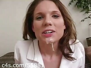 Schoolgirl Knob Slobber with Huge Sticky Facial