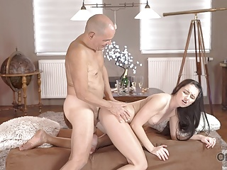 OLD4K. Dad penetrates juicy slit of brunette cutie all day