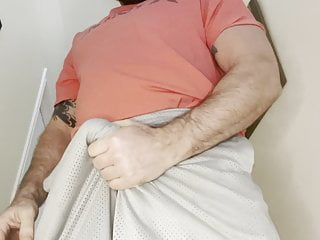 Horned up muscle bear strokes and shoots big load