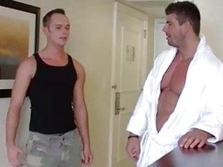 Bodybuilder atlas and twink in hotel room...