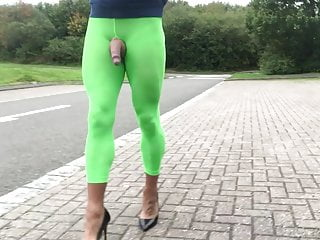 Public road walking in green leggings.