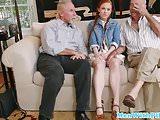 Pigtailed ginger teen cocksucks grandpa POV