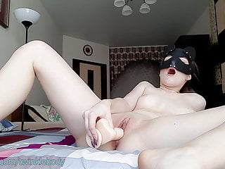 Fucking myself within the cunt with my mega big fuck toy to orgasm