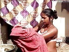 Pregnant Desi Indian Village Gal Bathing Outdoor