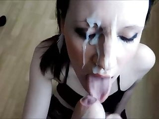 Cumshot black haired gets everything face...