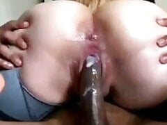 Oiled round ass riding big cock