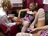 Dazzling blonde babes shove various toys in their pussies
