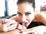 Hot Bombshell Jessica Jaymes sucking a huge cock, big boobs