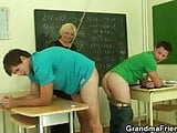 Two pupils bang lustful mature teacher