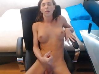 Cute perfect boobs playing with shaved cock 3...
