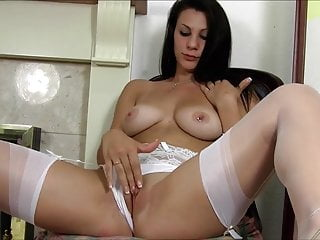 Roxy Mendez in white panties and stockings
