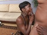 Ms Chocolate unlocking her jaws trying to shallow a dick