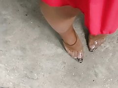 Joana Vmt Cd walking in a red dress and showing legs