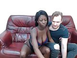 Beautiful black woman fun with white lover