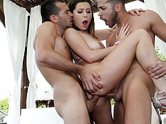 Lovely Young Girl Plowed DP by two White Dongs