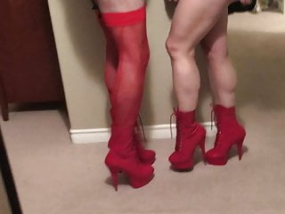 hot leather  couple and Red heels