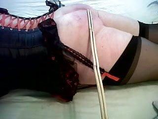Scottish Slut takes 10 severe hits from double cane